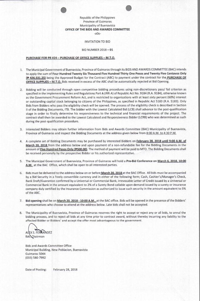 Invitation to BID: BID NUMBER 2018–01 | Municipality of