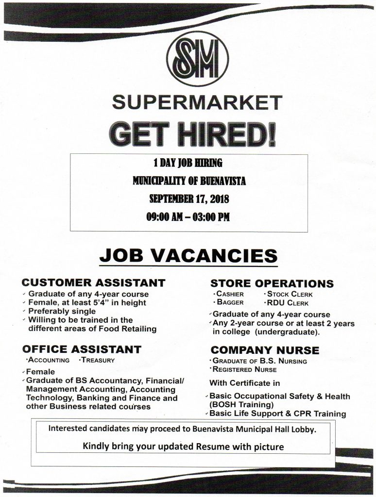 Looking for a Job? Visit Buenavista Municipal Hall Lobby on