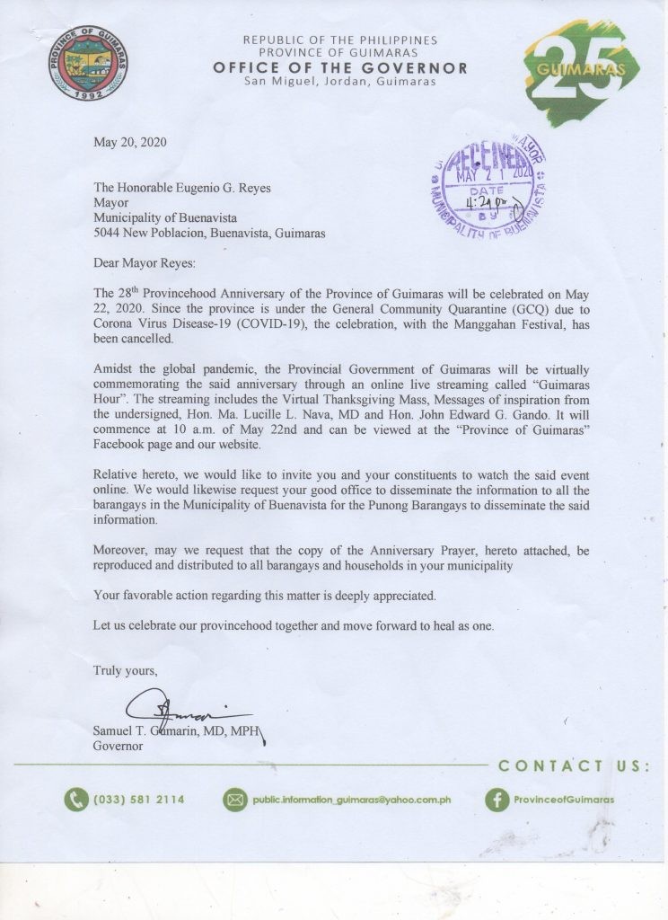 28th Provincehood Anniversary Invitation for the Buenavistahons