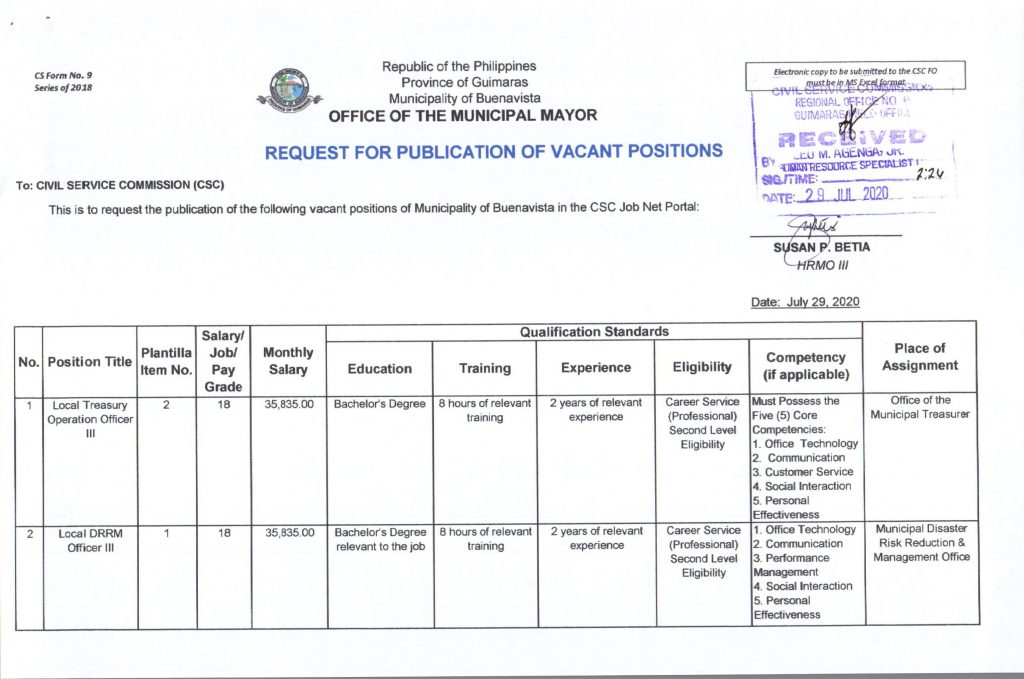 Publication of Vacant Positions, 1st page