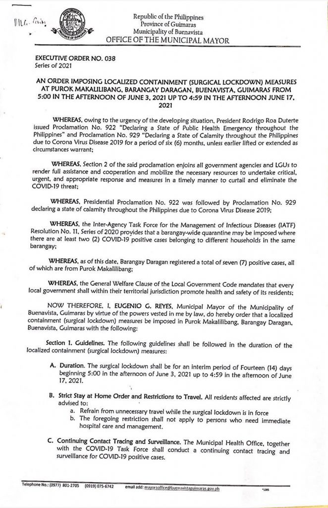 Executive Order No. 038 Page 1