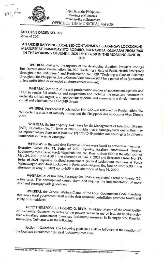 Executive Order 39 page 1