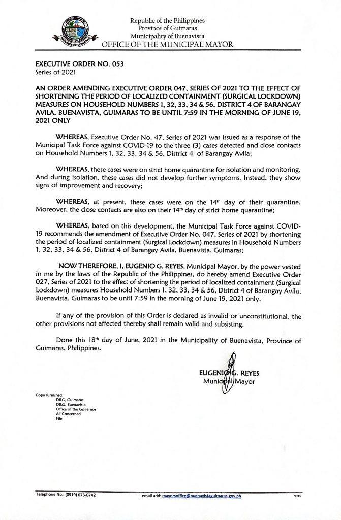 Executive Order No. 53 Series of 2021