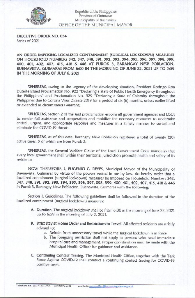 Executive Order 54 Series of 2021 Page 1 of 2