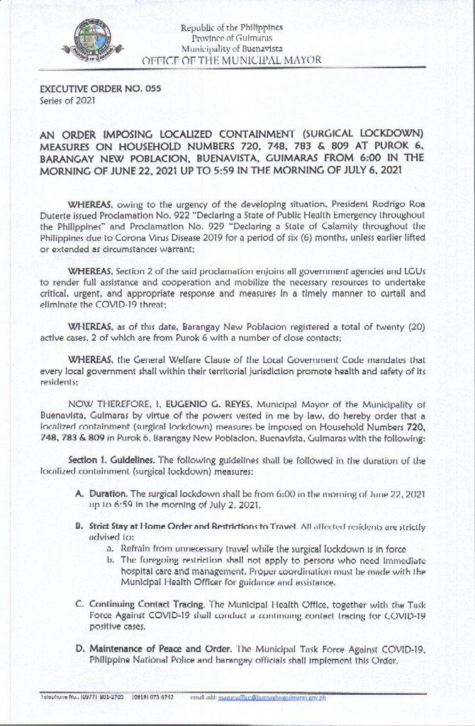 Executive Order No 055 Series of 2021 Page 1 of 2