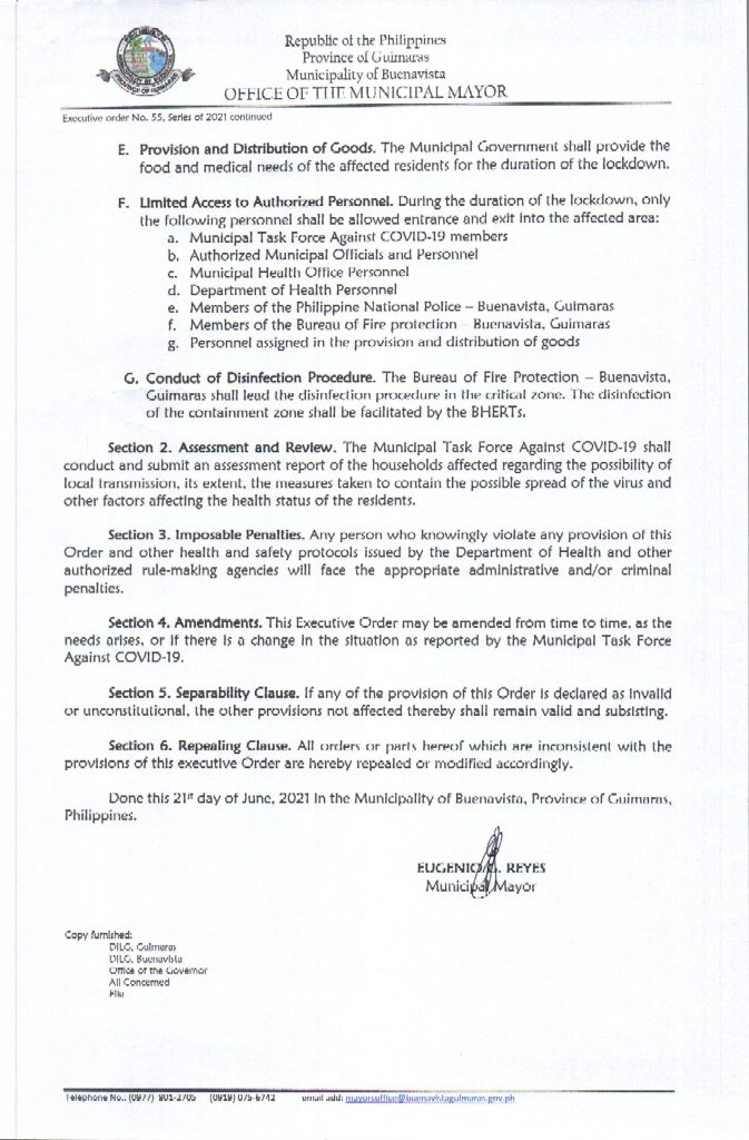 Executive Order No 055 Series of 2021 Page 2 of 2