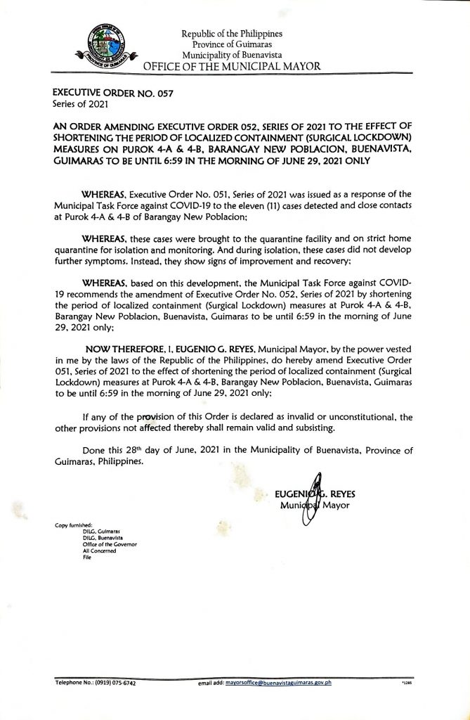 Executive Order 057 Series of 2021