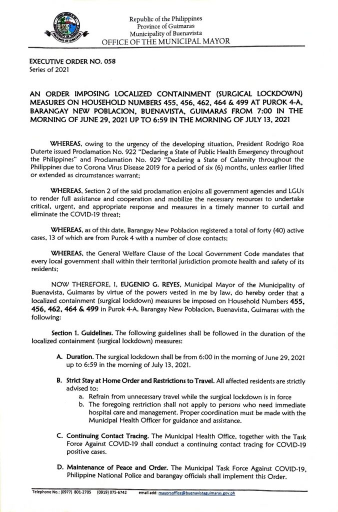 Executive Order 058 Series of 2021 Page 1 of 2
