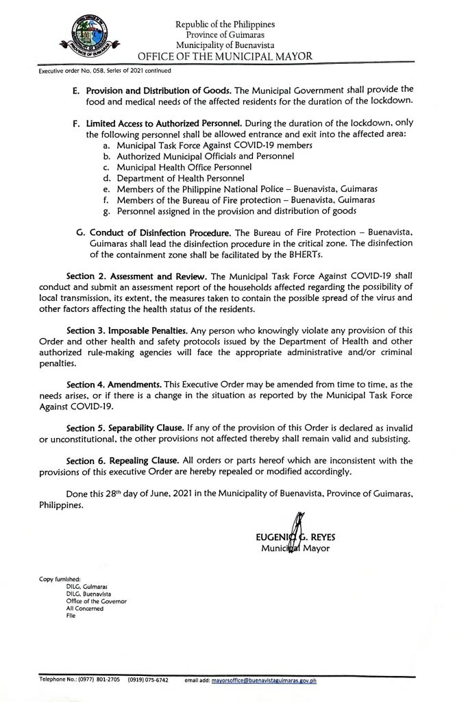 Executive Order 058 Series of 2021 Page 2 of 2